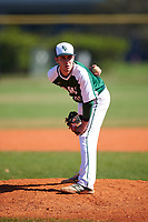 Farmingdale State Rams relief pitcher Ryan Mallon (45) looks in for the sign during the first game of a doubleheader against the FDU-Florham Devils on March 15, 2017 at Lake Myrtle Park in Auburndale, Florida.  Farmingdale defeated FDU-Florham 6-3.  (Mike Janes/Four Seam Images)