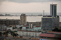 ANGOLA Luanda, Angola telecom office tower and Ilha do Luanda with atlantic ocean