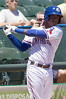 Round Rock shortstop Jurickson Profar (10) on deck against the Nashville Sounds in the Pacific Coast League baseball game on May 5, 2013 at the Dell Diamond in Round Rock, Texas. Round Rock defeated Nashville 5-1. (Andrew Woolley/Four Seam Images).