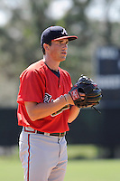 Pitcher Blair Walters (8) of the Atlanta Braves farm system in a Minor League Spring Training workout on Monday, March 16, 2015, at the ESPN Wide World of Sports Complex in Lake Buena Vista, Florida. (Tom Priddy/Four Seam Images)