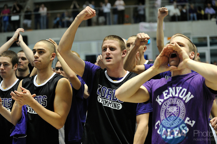 25 MAR 2011:  Kenyon College fans yell support for their team during the Division III Men's and Women's Swimming and Diving Championship help at Allan Jones Aquatic Center in Knoxville, TN.  David Weinhold/NCAA Photos