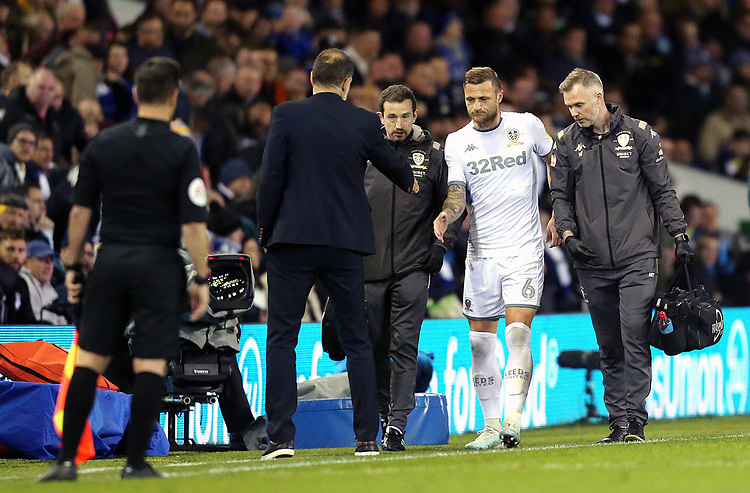Leeds United's Liam Cooper is greeted by West Bromwich Albion manager Slaven Bilic as he leaves the pitch injured during the first half<br /> <br /> Photographer Rich Linley/CameraSport<br /> <br /> The EFL Sky Bet Championship - Tuesday 1st October 2019  - Leeds United v West Bromwich Albion - Elland Road - Leeds<br /> <br /> World Copyright © 2019 CameraSport. All rights reserved. 43 Linden Ave. Countesthorpe. Leicester. England. LE8 5PG - Tel: +44 (0) 116 277 4147 - admin@camerasport.com - www.camerasport.com