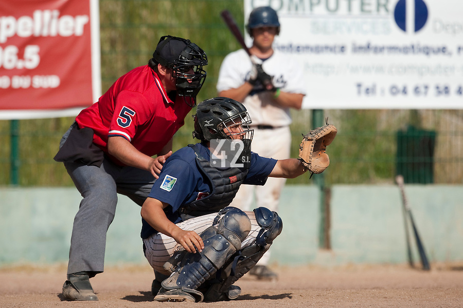 24 May 2009: Boris Marche of Rouen is seen catching during the 2009 challenge de France, a tournament with the best French baseball teams - all eight elite league clubs - to determine a spot in the European Cup next year, at Montpellier, France. Rouen wins 7-5 over Savigny.