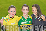 Ellen Browne Gaelscoil Aogain Castleisland, Samantha Roche Cullina NS Beaufort and Endrra Angela Thaqui St Oliver's Killarney who was the first three home in the Girls 600m at the County National Schools athletics finals in Castleisland On Saturday.