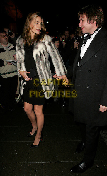 YASMIN & SIMON LE BON.Finch & Partners' Pre-BAFTA Party, Annabel's, Berkely Sqaure, London, UK..February 10th, 2007.full length black dress suit white grey gray fur coat jacket couple married husband wife LeBon profile.CAP/AH.©Adam Houghton/Capital Pictures