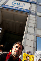 Mehmet Karinchi one of the organisors of Kurdish hunger strikers outside the United Nations University in Omote Sando, Tokyo, Japan. Friday November 9th 2012. The strike lasted from 8am to 8pm to show solidarity with nearly 800 Kurdish political prisoners held in Turkey who have been on hunger strike for 2 months