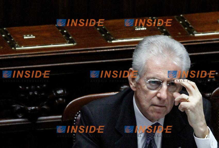 Il  Presidente del Consiglio Mario Monti..Voto di Fiducia alla Camera dei Deputati sulla nuova Manovra Economica..Roma 16 Dicembre  2011..Photo Serena Cremaschi Insidefoto..............................