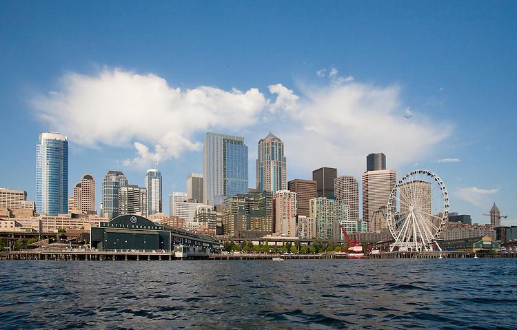 Seattle, skyline, Elliott Bay, Seattle Great Wheel, a ferris wheel on Pier 57, downtown, waterfront, Washington State, USA, Puget Sound,