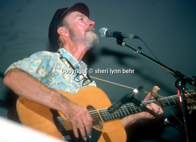 Pete Seeger onstage in NYC's Central Park at the Dr. Pepper Music Festival in July 1978.