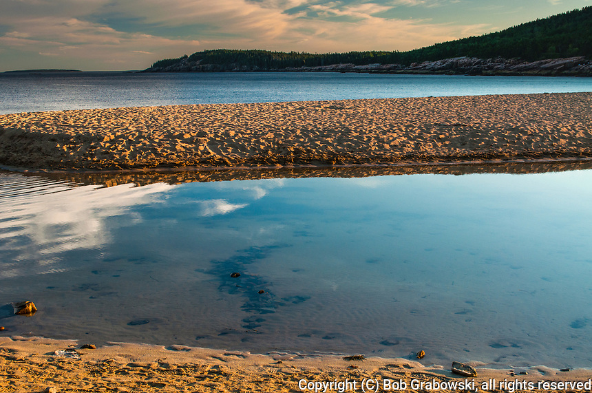 Sunset at Sand Beach in Acadia National Park in Maine