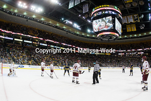 - The Boston College Eagles defeated the Merrimack College Warriors 5-3 to win the Hockey East championship for the tenth time on Saturday, March 19, 2011, at TD Garden in Boston, Massachusetts.