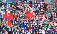 New England Revolution fans. In a Major League Soccer (MLS) match, the New England Revolution (blue/white) defeated Houston Dynamo (orange), 2-0, at Gillette Stadium on April 12, 2014.