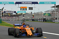 March 24, 2018: Fernando Alonso (ESP) #14 from the McLaren F1 team leaves the pit for his qualifying lap at the 2018 Australian Formula One Grand Prix at Albert Park, Melbourne, Australia. Photo Sydney Low