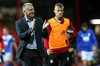Brentford Manager, Dean Smith, applauds the home fans at the end of the match during Brentford vs Birmingham City, Sky Bet EFL Championship Football at Griffin Park on 2nd October 2018