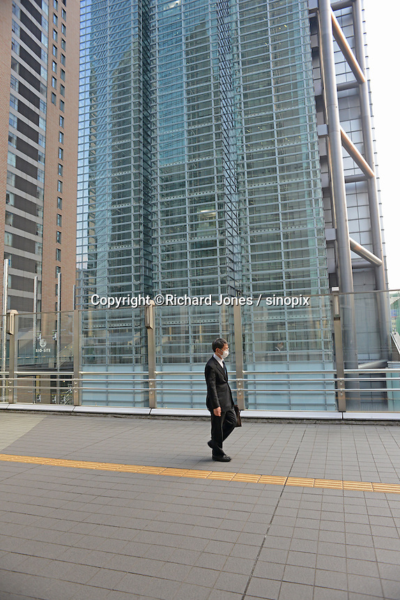 Shiodome business district near Tokyo Bay.  Yurikamome, the monorail runs between Shinbashi and Tokyo bay area.
