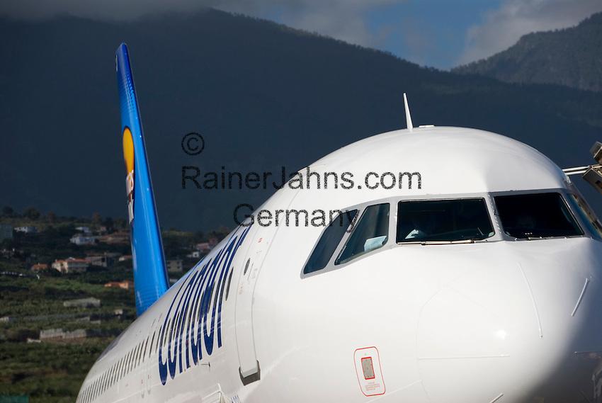 ESP, Spanien, Kanarische Inseln, La Palma, Aeroporto de La Palma, Condor Airbus A320 | ESP, Spain, Canary Islands, La Palma, airport of La Palma,  Condor Airbus A320
