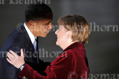 Nov.17-16 Chancellery,Berlin,Germany<br /> Outgoing US president, Barack Obama is<br /> welcomed by close friend and partner, Chancellor Angela Merkel