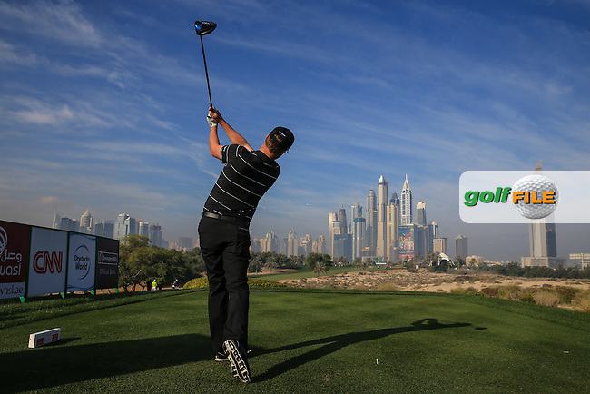 Marc Warren (SCO) from the 8th tee during the Pro-Am at the 2016 Omega Dubai Desert Classic, played on the Emirates Golf Club, Dubai, United Arab Emirates.  03/02/2016. Picture: Golffile | David Lloyd<br /> <br /> All photos usage must carry mandatory copyright credit (&copy; Golffile | David Lloyd)