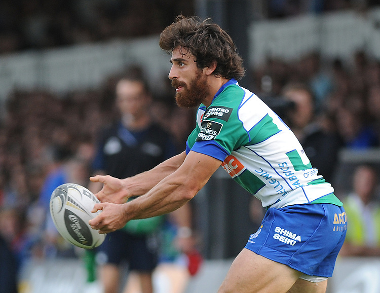 Benetton Treviso's Ludovico Nitoglia  in action during today's match <br /> <br /> Photographer Ashley Crowden/CameraSport<br /> <br /> Rugby Union - Guinness PRO12 - Newport Gwent Dragons v Benetton Treviso - Sunday 28th September 2014 - Rodney Parade - Newport<br /> <br /> &copy; CameraSport - 43 Linden Ave. Countesthorpe. Leicester. England. LE8 5PG - Tel: +44 (0) 116 277 4147 - admin@camerasport.com - www.camerasport.com