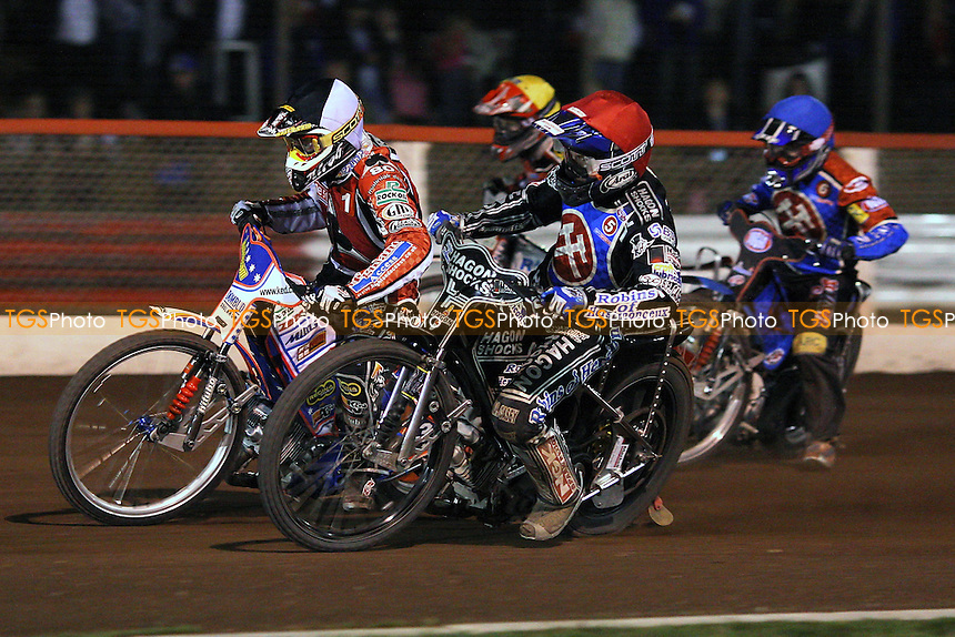 Heat 11: Crump (tactical), Kennett (red), Kling (blue) and Forsberg - Lakeside Hammers vs Belle Vue Aces - Sky Sports Elite League Speedway at Arena Essex, Purfleet - 10/09/08 - MANDATORY CREDIT: Gavin Ellis/TGSPHOTO - Self billing applies where appropriate - 0845 094 6026 - contact@tgsphoto.co.uk - NO UNPAID USE.