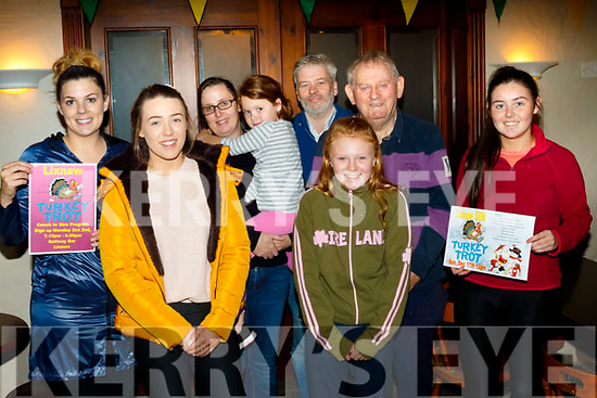 L-R Christina Lovett, Aisling, Louise&Mya Leen, Pat Keane (Railway Bar) Emma Leen, Tom Hennessy with Roisin Stack pictured in the Railway Bar, Lixnaw last Monday evening for the Launch of the Turkey Trot 5k fun run,jog or walk which will take place on December 17th next.