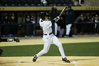 Chris Lanzilli (24) of the Wake Forest Demon Deacons at bat against the Louisville Cardinals at David F. Couch Ballpark on March 6, 2020 in  Winston-Salem, North Carolina. The Cardinals defeated the Demon Deacons 4-1. (Brian Westerholt/Four Seam Images)