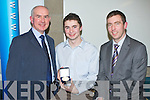 1..GOLD MEADLIST: The student who was presented with the Gold Medal at the 2011 Kerry Education Student Awards, in ITT North Campus on Friday evening was Ciaran O Muircheartaigh from Gaelholaistte Chiarrai, Moyderwell, Tralee with congratulating Ciaran werel-r: Austin O Seachnasaigh )principal) and Ruairi OCinbeide (Deputy Principal). ..