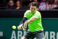 Februari 12, 2015, Netherlands, Rotterdam, Ahoy, ABN AMRO World Tennis Tournament, Milos Raonic (CAN)<br /> Photo: Tennisimages/Henk Koster