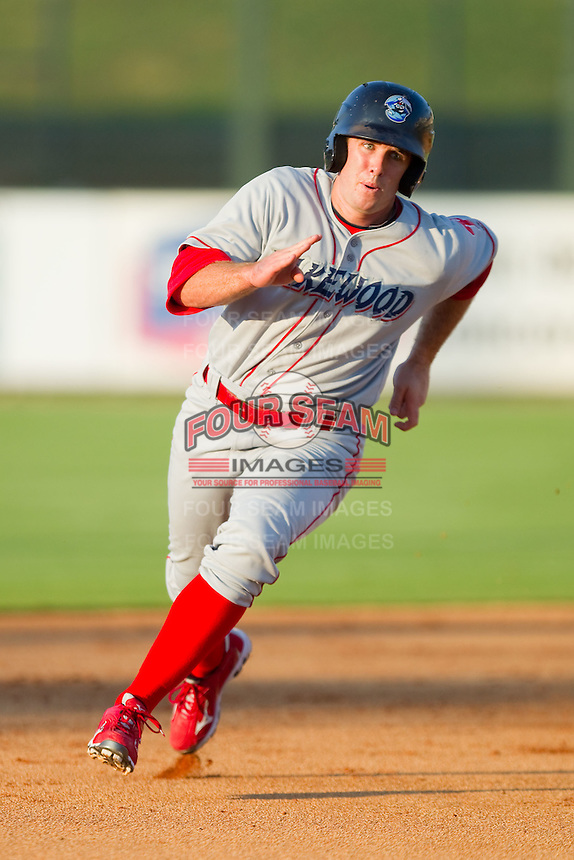 Stephen Batts #10 of the Lakewood BlueClaws hustles towards third base against the Kannapolis Intimidators at Fieldcrest Cannon Stadium July 14, 2010, in Kannapolis, North Carolina.  Photo by Brian Westerholt / Four Seam Images