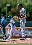 3 September 2018: Tri-City ValleyCats pitcher Ernesto Jaquez stands on the mound after serving up a two-run homer to Vermont Lake Monsters designated hitter Payton Squier in the first inning at Centennial Field in Burlington, Vermont. The Lake Monsters defeated the ValleyCats 9-6 in the last game of the 2018 NY Penn League regular season. Mandatory Credit: Ed Wolfstein Photo *** RAW (NEF) Image File Available ***