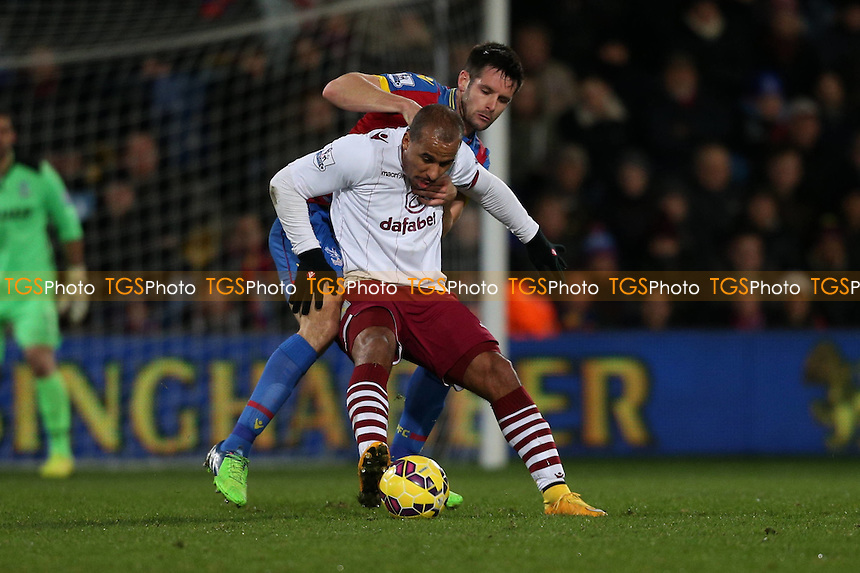 Gabriel Agbonlahor of Aston Villa backs into Scott Dann of Crystal Palace - Crystal Palace vs Aston Villa - Barclays Premier League Football at Selhurst Park, London - 02/12/14 - MANDATORY CREDIT: Simon Roe/TGSPHOTO - Self billing applies where appropriate - contact@tgsphoto.co.uk - NO UNPAID USE