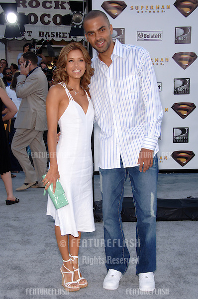 "Actress EVA LONGORIA & boyfriend TONY PARKER at the world premiere of ""Superman Returns"" in Los Angeles..June 21, 2006  Los Angeles, CA.© 2006 Paul Smith / Featureflash"