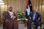 Palestinian President Mahmoud Abbas meets with the Deputy Prime Minister of the Sultanate of Oman, Tunis, Tunisia, on March 30, 2019. Photo by Thaer Ganaim