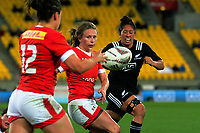 Chelsea Guthrie gets a pass away during the 2017 International Women's Rugby Series rugby match between the NZ Black Ferns and Canada at Westpac Stadium in Wellington, New Zealand on Friday, 9 June 2017. Photo: Dave Lintott / lintottphoto.co.nz