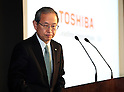 February 14, 2017, Tokyo, Japan - Japan's troubled electronics giant Toshiba president Satoshi Tsunakawa announces the company's third quarter financial result at the Toshiba headquarters in Tokyo on Tuesday, February 14, 2017. Toshiba chairman Shigenori Shiga will step down to take responsibility for the huge loss of a 712.5 billion yen (6.3 billion US dollars) on its nuclear business in the United States.   (Photo by Yoshio Tsunoda/AFLO) LwX -ytd