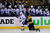 May 2, 2018: Boston Bruins right wing David Pastrnak (88) runs into Tampa Bay Lightning center Steven Stamkos (91) during game three of the second round of the National Hockey League's Eastern Conference Stanley Cup playoffs between the Tampa Bay Lightning and the Boston Bruins held at TD Garden, in Boston, Mass. Tampa Bay defeats Boston 4-1. Eric Canha/CSM