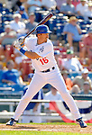 6 March 2006: Pat Borders, catcher for the Los Angeles Dodgers, at bat during a Spring Training game against the Washington Nationals. The Nationals and Dodgers played to a scoreless tie at Holeman Stadium, in Vero Beach Florida...Mandatory Photo Credit: Ed Wolfstein..