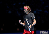 Alexander Zverev in action against Roger Federer in their Semi finals match <br /> <br /> Photographer Hannah Fountain/CameraSport<br /> <br /> International Tennis - Nitto ATP World Tour Finals Day 7 - O2 Arena - London - Saturday 17th November 2018<br /> <br /> World Copyright &copy; 2018 CameraSport. All rights reserved. 43 Linden Ave. Countesthorpe. Leicester. England. LE8 5PG - Tel: +44 (0) 116 277 4147 - admin@camerasport.com - www.camerasport.com