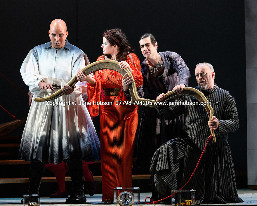 """London, UK. 12.10.2016. English Touring Opera presents """"Ulysses' Homecoming"""" at the Hackney Empire, prior to its UK tour. Picture shows: Adam Music (Amphinomous),  Carolyn Dobbin (Penelope), Clint van der Linde (Pisander), Andrew Slater (Antinous). Photograph © Jane Hobson."""