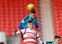 Kevin O'Connor of Fleetwood Town wins the head challenge during the Sky Bet League 1 match between Doncaster Rovers and Fleetwood Town at the Keepmoat Stadium, Doncaster, England on 17 February 2018. Photo by Leila Coker / PRiME Media Images.during the Sky Bet League 1 match between Doncaster Rovers and Fleetwood Town at the Keepmoat Stadium, Doncaster, England on 17 February 2018. Photo by Leila Coker / PRiME Media Images.
