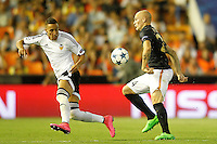 Valencia's Rodrigo (l) and AS Monaco FC's Andrea Raggi during Champions League 2015/2016 Play-Offs 1st leg match. August  19,2015. (ALTERPHOTOS/Acero)