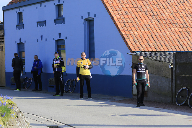 Team helpers wait for their riders at the top of the Taaienberg 18% cobbled climb during the 60th edition of the Record Bank E3 Harelbeke 2017, Flanders, Belgium. 24th March 2017.<br /> Picture: Eoin Clarke | Cyclefile<br /> <br /> <br /> All photos usage must carry mandatory copyright credit (&copy; Cyclefile | Eoin Clarke)
