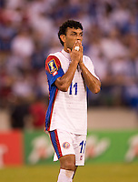 Michael Barrantes (11) of Costa Rica reacts to a missed chance during the quarterfinals of the CONCACAF Gold Cup at M&T Bank Stadium in Baltimore, MD.  Honduras defeated Costa Rica, 1-0.