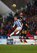 17th March 2018, The John Smiths Stadium, Huddersfield, England; EPL Premier League football, Huddersfield Town versus Crystal Palace; James McArthur of Crystal Palace beats Alex Pritchard of Huddersfield Town in the air