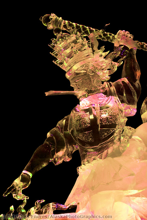 """King of Kings"" By Jeffery Stahl, Joshua Distenfeld, Louis Manzoni and Jeff Bleier.  2006 world ice art championships multiblock competition in Fairbanks, AK"