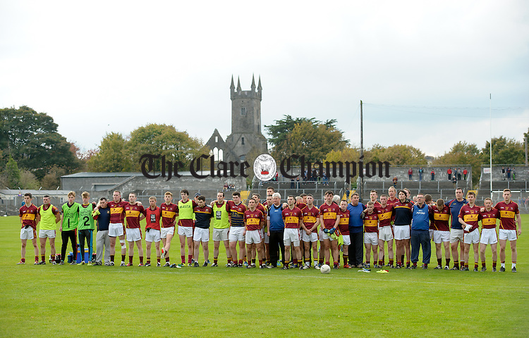 The Miltown panel stand for the anthem before the county senior football final against Cooraclare at Cusack park. Photograph by John Kelly.