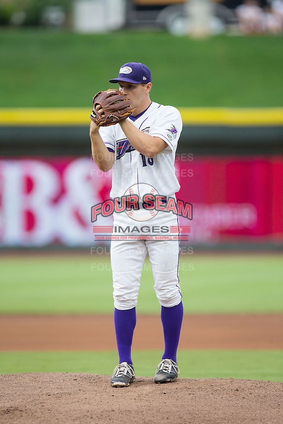 Winston-Salem Dash starting pitcher Tanner Banks (18) looks to his catcher for the sign against the Myrtle Beach Pelicans at BB&T Ballpark on July 7, 2016 in Winston-Salem, North Carolina.  The Dash defeated the Pelicans 13-9.  (Brian Westerholt/Four Seam Images)