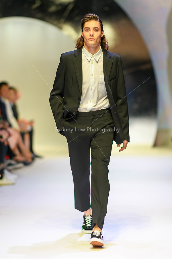 MELBOURNE - September 5, 2019: A model wearing Bassike walks at the Town Hall Closing Runway show during Melbourne Fashion Week in Melbourne, Australia. Photo Sydney Low