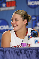 SAN ANTONIO, TX - APRIL 4: Jayne Appel in the post-game press conference during Stanford's 73-66 win over Oklahoma in the Final Four semi-finals at the Alamo Dome on April 4, 2010 in San Antonio, Texas.