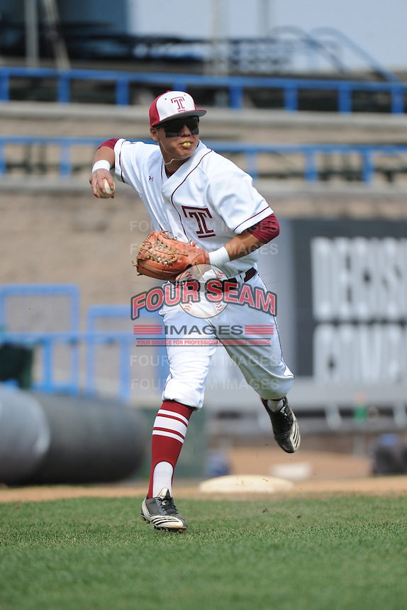 Temple University Owls infielder Reyn Sugai (5) during warmups before a game against the University of South Florida Bulls at Campbell's Field on April 13, 2014 in Camden, New Jersey. USF defeated Temple 6-3.  (Tomasso DeRosa/ Four Seam Images)